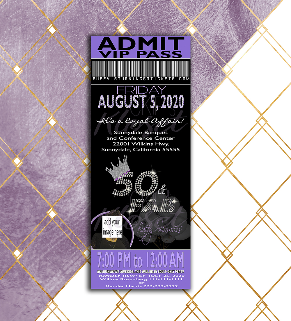 Birthday Party Invitation Ticket Invitation Vip Pass Custom