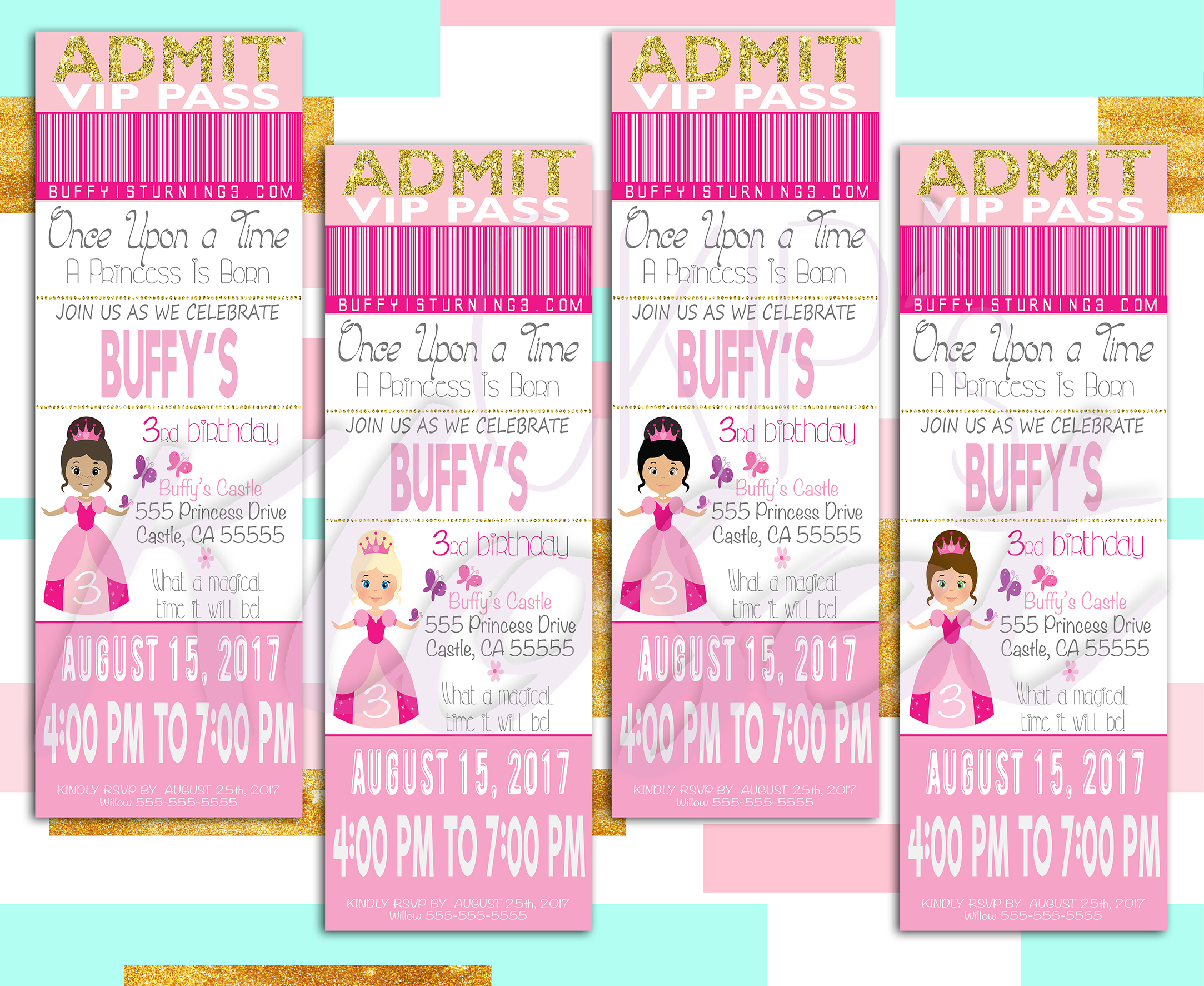 Vip princess birthday invitation princess invitation ticket prev stopboris Image collections