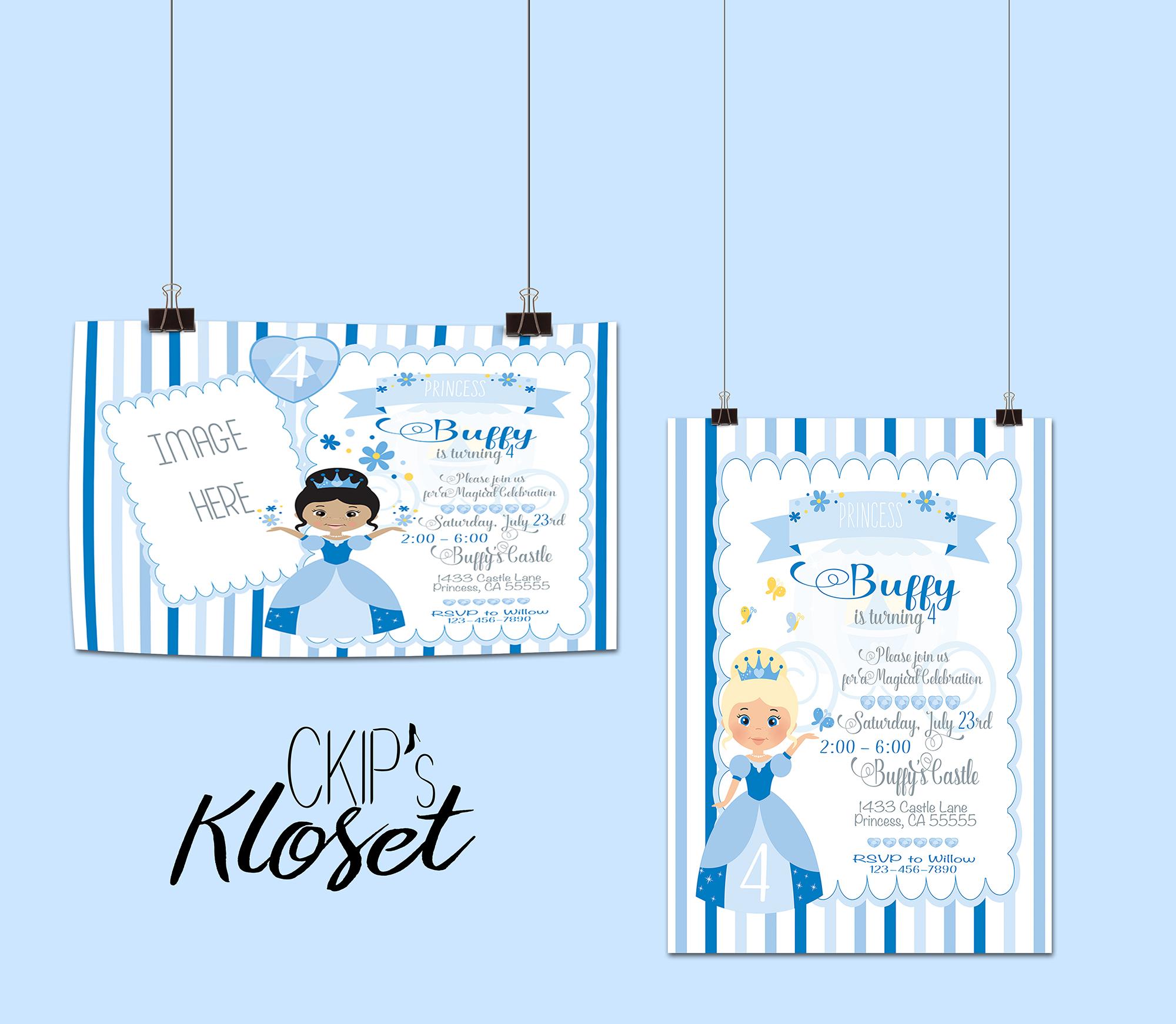 Princess birthday invitation princess invitation blue birthday prev stopboris Choice Image