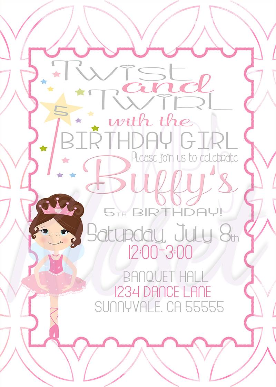 Twist And Twirl Birthday Invite, Tutu invitation, Tutu Party ...