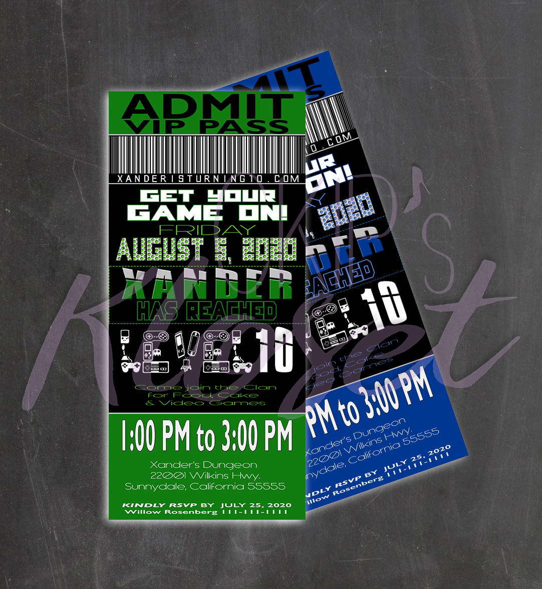 Video Game Party Invitation/ Ticket Invitation/ VIP Pass/ Custom ...