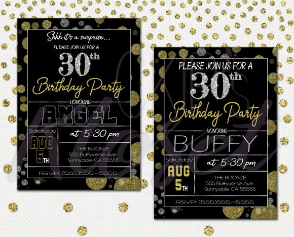 Surprise 30th Birthday Invitations For Him Or Her Mens Womens