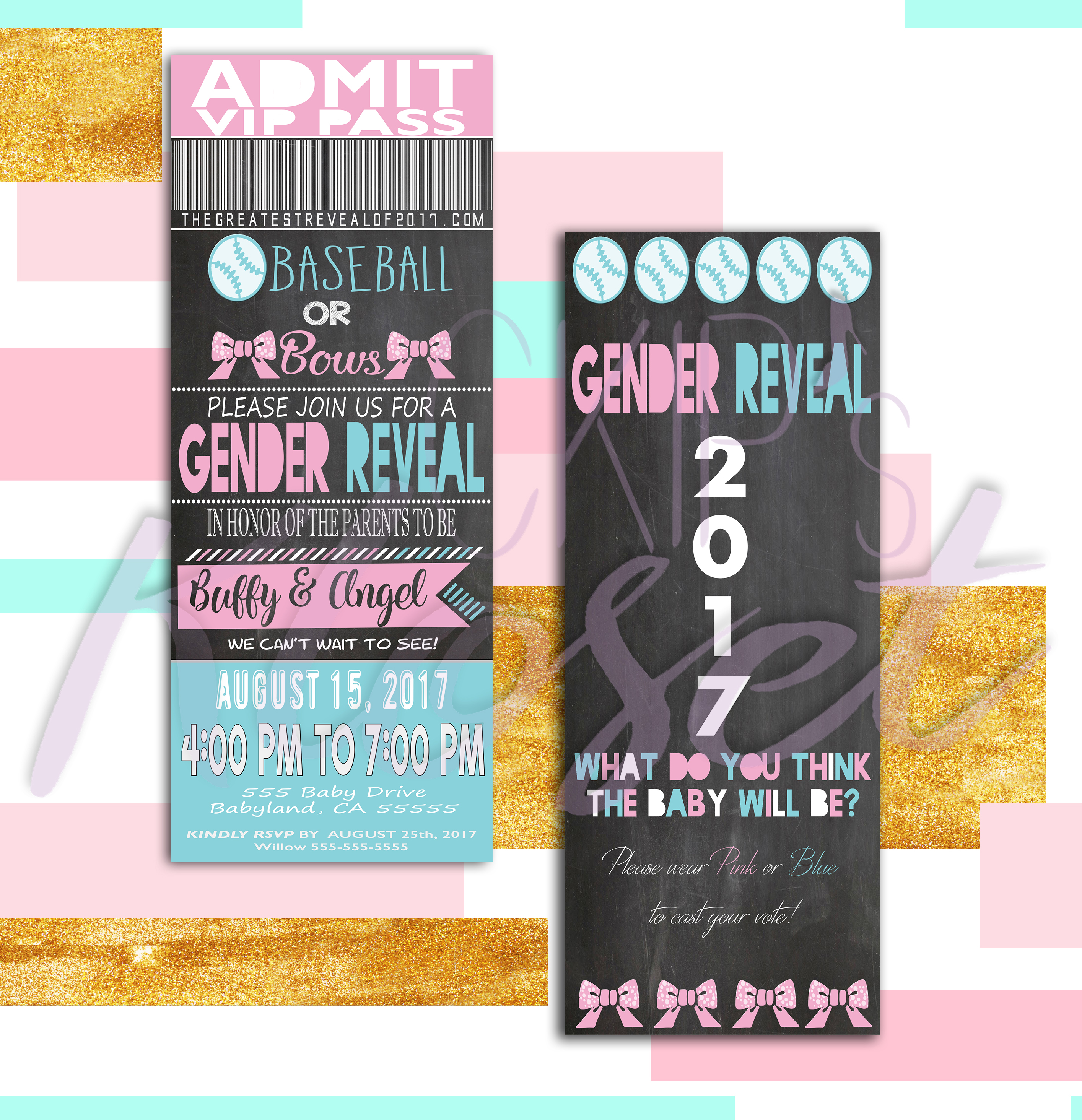 VIP Pink and Blue Gender Reveal Invitation Baseball Or Bows